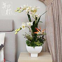 DSAAA Fake blumen Orchidee Home Zubehör silk Blume die Einrichtung der Esstisch im Wohnzimmer Künstliche Blumen Bonsai,Grün