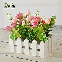 DSAAA Künstliche Blume Holzzaun Wandmontage Home Zubehör,16 Cm Rosa B