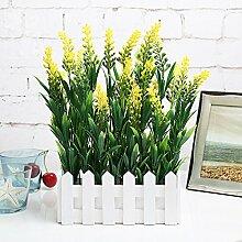 DSAAA künstliche Fake Blume Pflanze Lavendel Zaun Kunststoff Home Flur Dekor,Gelb 20Cm