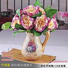 DSAAA Künstliche Fake Blume Silk Blume Home Zubehör Lila Rose Keramik Vasen