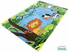 Dschungel blau HEVO® Handtuft Teppich | Kinderteppich | Spielteppich 150x220 cm Öko Tex 100