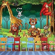 Dschungel Tiere Wandbild Löwe Giraffe Foto-Tapete