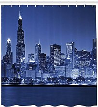 dsgrdhrty Dunkelblaue Chicago-Skyline nachts