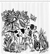 dsgrdhrty Jagdhund im Wald Badezimmer Duschvorhang
