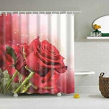 dsgrdhrty Roter Rosendruck Badezimmer Duschvorhang