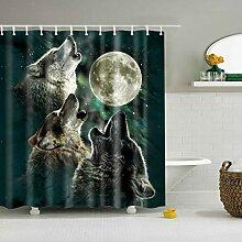 dsgrdhrty Wolf Badezimmer Duschvorhang dekorativen
