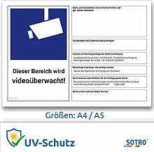 DSGVO Videoüberwachung Schild/Aufkleber, BDSG -