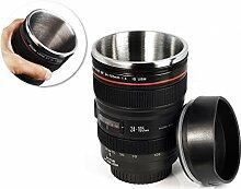 DSstyles Kamera Objektiv Kaffeetasse 400ml Edelstahl Kaffeetasse Kamera Objektiv Schale personifizierte isolierte Schale - Schwarzes