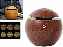DSstyles Öl Diffusor 130ml Luftbefeuchter Holz Korn Cool Mist Luftbefeuchter Aroma Diffusor mit 6 Farbe LED Licht - Braun