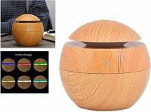 DSstyles Öl Diffusor 130ml Luftbefeuchter Holz Korn Cool Mist Luftbefeuchter Aroma Diffusor mit 6 Farben LED Licht - Beige