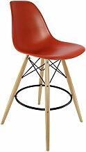 DSW Hocker - Orange Vintage, Natur, runder Rahmen