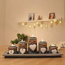 dszapaci Teelichthalter-Set auf Holz-Tablett