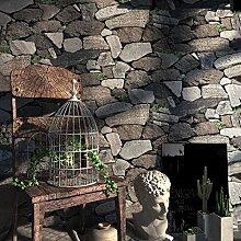 DSZQ Tapeten Vintage Steinoptik Tapeten 3D Effekt