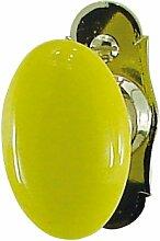 DT 2000157484Vintage Porzellan Fenster Griff auf vernickelt Hochglanz Zamak gelb