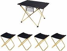 DTTN Folding Camping Tisch Mit Foding Hocker FüR