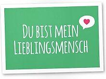 Du bist mein Lieblingsmensch Schild Grün - Schild, Türschild, Süße Geschenkidee Geburtstagsgeschenk beste Freundin, Kleines und persönliches Geschenk für Deinen Lieblingsmenschen, Deko - Wanddeko