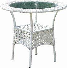 Duan Gartentisch Rund Metall, weißer Rattan-Tisch