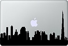 DUBAI Skyline Aufkleber Macbook Air Pro Sticker Decal Apple VAE (Schwarz)
