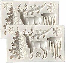 DUBENS 2 Stück 3D Weihnachten Baum Elch Hirsche