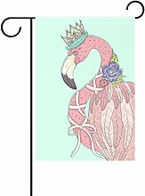 Duble Sided Queen Flamingo mit Blume Krone lila