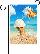 Duble Sided Strawberry Pink Eis mit Obst auf Holz mit Strand Sky Polyester HAUS/Garten Flagge Banner 12x 18/71,1x 101,6cm für Hochzeit Party alle Wetter, Polyester, Multi2, 28x40