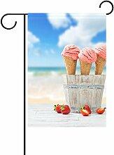 Duble Sided Strawberry Pink Eis mit Obst auf Holz mit Strand Sky Polyester HAUS/Garten Flagge Banner 12x 18/71,1x 101,6cm für Hochzeit Party alle Wetter, Polyester, Multi1, 28x40