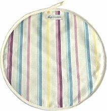 Duckydora Amalfi runde Herdabdeckplatte, zartes hellblau/gelb/rosa Streifen.