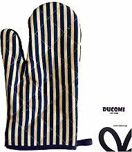 ducomi® Country Stripes–Handschuh-Ofen und Grill liniert hitzebeständig und hohen Temperaturen in Baumwolle gepolstert, blau