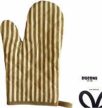 ducomi® Country Stripes–Handschuh-Ofen und Grill liniert hitzebeständig und hohen Temperaturen in Baumwolle gepolstert, beige