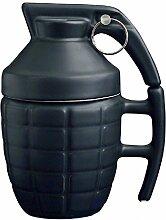 Ducomi® Cup Kaffee und Tee Keramik Granate Geformt Geschenkidee (Schwarz)