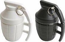Ducomi® Cup Kaffee und Tee Keramik Granate Geformt Geschenkidee (Weiß + Schwarz)