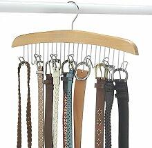 ducomi® Rockbügel Kleiderbügel aus Holz mit 12Haken beige