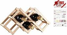 ducomi® Vinoria–Weinregal aus Holz klappbar