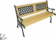 DUE ESSE Gartenbank aus Gusseisen und Holz Gartenbank mit Rückenlehne gearbeitet geflochten Größe 122x 54x 73cm