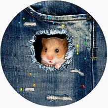 Dünne 60 * 60 cm Runde Boden Teppich Tapis für Wohnzimmer Badezimmer Schlafzimmer Fußmatte 3D Denim Katze Druck rutschfeste Teppiche , ca491bb3
