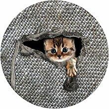 Dünne 60 * 60 cm Runde Boden Teppich Tapis für Wohnzimmer Badezimmer Schlafzimmer Fußmatte 3D Denim Katze Druck rutschfeste Teppiche , ca542bb5