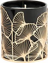Duftkerze im Glas, grau, mit Ginkgo-Motiven aus