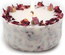 Duftkerze Soja Echte Rote Rosen Geschenk Kerze