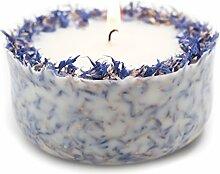 Duftkerze Soja Lavendel Beige Blau Kerze aus Bio