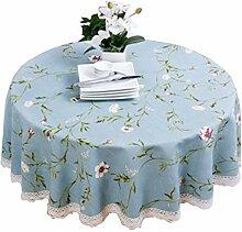 DUHUI Runde Tischdecke aus Baumwolle und Leinen