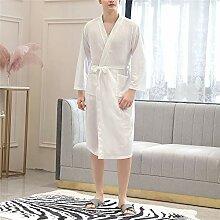 DUJUN Kurz Bademantel Kimono Baumwolle Saunamantel