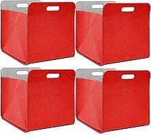 DuneDesign 4er Set Filz Aufbewahrungsbox 33x33x38
