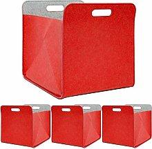 DuneDesign 4er Set Filz Faltbox 33x33x38 cm -