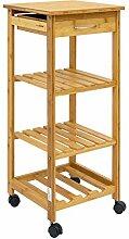 DuneDesign Bambus Küchenwagen 37x37x85