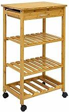 DuneDesign Bambus Küchenwagen 50x37x85
