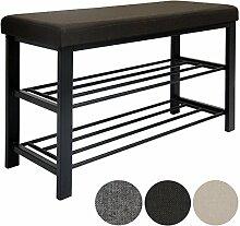 dunedesign Schuhregal 81x32x46 cm offener Schuhschrank mit 2 Böden stabile Sitzbank Schuhbank aus Metall mit gepolsterter Leinen Sitzfläche Braun