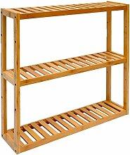 DuneDesign Wandregal 54x60x15cm Bambus Bad-Regal 3