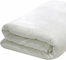 DuneDESIGN XXL Kuscheldecke 240x220cm extra warme Wohndecke 300g/m² Fleecedecke Tagesdecke Mikrofaser-Decke Weiß