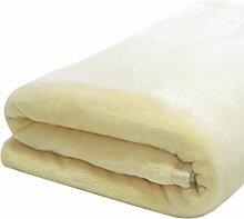 DuneDESIGN XXL Kuscheldecke 240x220cm extra warme Wohndecke 300g/m² Fleecedecke Tagesdecke Mikrofaser-Decke Beige