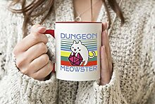 Dungeon Meowster Vintage D21 Roter Griff-Becher